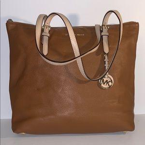 Michael Kors zip top tan leather tote shoulder bag